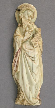 France. Made in Paris. Plaque with Saint John the Baptist, ca. 1400. Ivory, traces of paint and gilding. Dimensions: Overall: 3 5/8 x 1 1/8 x 1/4 in. (9.2 x 2.8 x 0.7 cm). Public Domain.