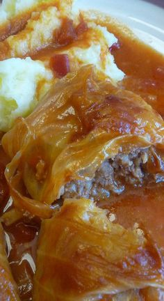 Cabbage Rolls made the old fashioned way. The perfect combination of cabbage, meats and tomatoes. Easy Cabbage Rolls, Cabbage Rolls Recipe, Cabbage Recipes, Pork Recipes, Cooking Recipes, Cabbage Meals, What's Cooking, Recipies, Beef Dishes