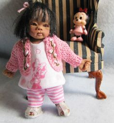 Check out her cute sandals!!! OOAK 1/12 size artist hand sculpted dolls house ethnic girl doll