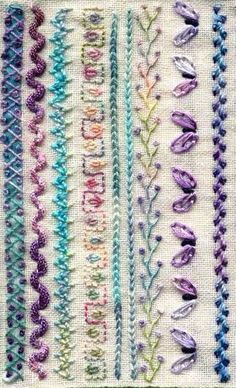 Crazy stitches, patterns for embroidery Crazy Quilt Stitches, Hand Embroidery Videos, Embroidery Stitches Tutorial, Embroidery Sampler, Wool Embroidery, Embroidery Flowers Pattern, Simple Embroidery, Hand Embroidery Designs, Embroidery Techniques