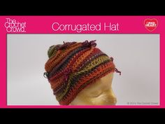 Corrugated Crochet Hat. Learn how to crochet a Corrugated Hat. Get the free pattern at http://www.redheart.com/free-patterns/corrugated-hat-and-cowl
