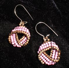 First, work a 4-bead wide strip of herringbone weave. Twist, join the ends, add a hanging loop, and voila! A geeky, yet elegant earring.