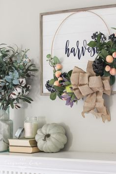 best=Simple Fall Mantel with Harvest Wreath The Turquoise Home , Stay on trend with this beautiful prom dresses at Prom Dress Shop. Mason Jar Pumpkin, Pumpkin Spice Candle, Fall Mantel Decorations, Thanksgiving Decorations, Thanksgiving Ideas, Diy Fall Wreath, Fall Wreaths, Decorating Coffee Tables, Fall Decorating
