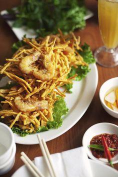 Vietnamese fried sweet potato shrimp fritter