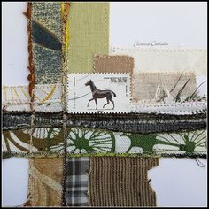 stamp & fabric collage by florence cathala