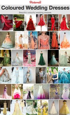 Coloured Wedding Dresses ~ Inspiration For the Bride Who Doesn't Want To Wear White >> http://www.lovemydress.net/blog/2013/09/coloured-wedding-dresses.html