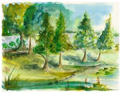 "Green 8.5 x 11"" Print of watercolor"