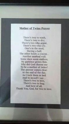 Mother of twins prayer.