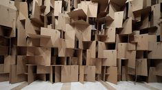 Sound Sculptures: An Interactive Installation This inventive cardboard installation is made by the Swiss design group, Zimoun. This installation is quite intriguing, it's a series of cardboards. Sound Installation, Interactive Installation, Art Installations, Cardboard Sculpture, Cardboard Art, Cardboard Boxes, Cardboard Display, Sound Sculpture, Sculptures