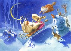 New Year Illustration, Winter Illustration, Christmas Illustration, Cute Illustration, Cartoon Cow, Naive Art, Cool Paintings, Illustrations And Posters, Whimsical Art