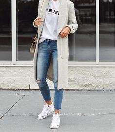 long cardigan, white tee, jeans and sneakers