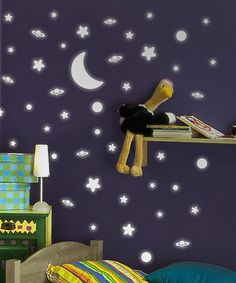 Take a look at this Moon & Stars Glow-in-the-Dark Wall Decal Set by WallPops! on #zulily today!