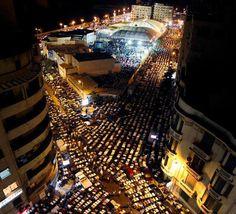 Muslims in the street to pray Ramadan  Alexandria 14-7-2013