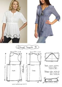 Amazing Sewing Patterns Clone Your Clothes Ideas. Enchanting Sewing Patterns Clone Your Clothes Ideas. Dress Sewing Patterns, Blouse Patterns, Sewing Patterns Free, Clothing Patterns, Blouse Designs, Fashion Sewing, Diy Fashion, Ideias Fashion, Make Your Own Clothes