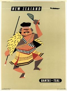 Qantas and Teal, New Zealand - Vintage Posters - Galerie 123 - The place to find vintage art