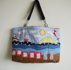 Appliqued Beach Scene Beach Bag by Gertrood on Etsy, £35.00