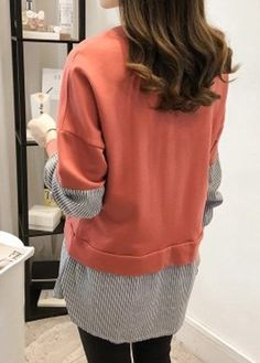 Long Sleeve Striped Faux Two Piece Blouse on sale only US 32.53 now 082eddbf86bf1