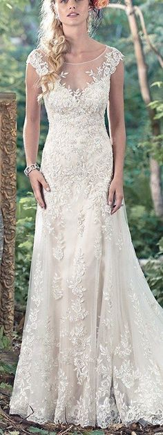 "More ""Second Looks"" for Your Ceremony and Reception - Tami wedding dress by Maggie Sottero features illusion off-the-shoulder sleeves."