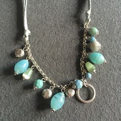 """blue bead & suede necklace 🆕 blue suede and silver tone chain with blue glass beads. Adjustable 16""""-18"""" LC Lauren Conrad Jewelry Necklaces"""