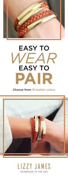 15% Off all first orders. Join our Newsletter to get Styling Tips, Free Bracelet Giveaways, Seasonal discounts and more! The Mini Addison wrap bracelet features a braided double leather strand with wide gold, rose gold and silver plate crescents. Choose from 18 leather colors -- vintage orange, metallic gold, natural gray, bright pink and many more. Shop the Lizzy James collection today.
