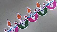 Super Easy and Creative Diya Rangoli Designs.Diwali Special Rangoli Designs by Shital Mahajan. Rangoli Side Designs, Colorful Rangoli Designs, Rangoli Designs Diwali, Rangoli Designs Images, Beautiful Rangoli Designs, Rangoli Colours, Rangoli Patterns, Rangoli Ideas, Diwali Special Rangoli Design