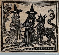 old woodcut witch witches