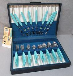 RARE Mid Century 32 Piece Branchell Stainless Turquoise Melmac Flatware Utensils | eBay