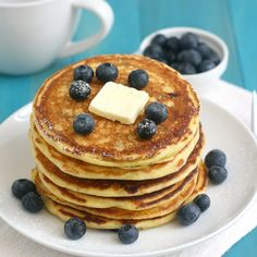Blueberry Cornmeal Pancakes by @Tracey Wilhelmsen (Tracey's Culinary Adventures)