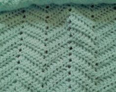 Items similar to Crochet Baby Blanke,t Blue with White Border on Etsy