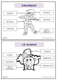 21 fiches pour la maternelle (PS, MS GS) pour découvrir, lire et écrire les mots du vocabulaire de carnaval (le clown et son déguisement, Arlequin, le cowboy, la princesse, l'indien, la fée, les costumes...)