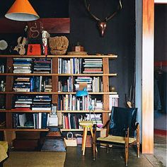 I want this bookcase, all chunks and plunks of wood.