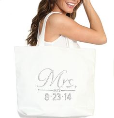 Jumbo Rhinestone Mrs. & Wedding Date Tote White - Bridal Shower Gift, Bachelorette Party, Engagement, Carryall