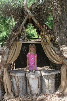 Create a puppet theater out of vines and tree stumps. | 37 Ridiculously Awesome Things To Do In Your Backyard This Summer