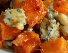 Locally grown butternut squash with blue cheese crumbles drizzled.in honey.