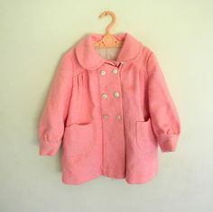 Girls Vintage Coat, Pink Coat Size 3 Sale 25% OFF