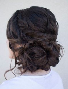 beautifully arranged dark brown to black hair in a low bun resting at the nape. Braid snakes around the hairdo