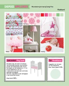 Een roze babykamer met fris appelgroen.