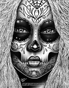 coloring pages - or apprx in Signed Art Print Delia Day of the Dead Sugar Skull Girl Tattoo Art Portrait Sugar Skull Girl Tattoo, Sugar Skull Tattoos, Sugar Skull Art, Sugar Skulls, Caveira Mexicana Tattoo, Tattoo Drawings, Art Drawings, Los Muertos Tattoo, Tribal Arm