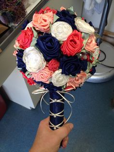Custom ribbon rose bridal bouquet satin and fabric rolled flowers in navy coral ivory and peach