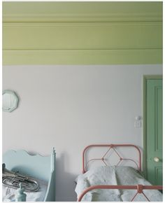 Wall: Calluna 270 Ceiling: Churlish Green 251 Door: Folly Green 76 Architrave: Cooking Apple Green 32 Left hand bed: Parma Grey 27 Right hand bed: Red Earth 64