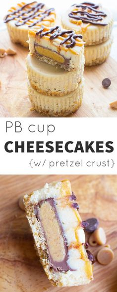 Peanut Butter Cup Mini Cheesecakes on a Pretzel Crust @sweetpeasaffron