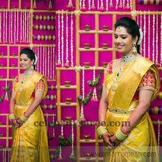Bride in yellow Saree. More lik gold saree