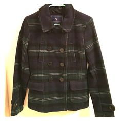 American Eagle Pea Coat Comfy American Eagle pea coat! No longer fits but is true to size (small). It's a pretty heavy duty coat and will definitely keep you warm. It has a plaid design in dark blue and green and is in excellent condition! American Eagle Outfitters Jackets & Coats Pea Coats