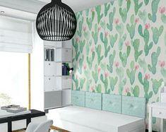 Kaktus, Pastell, Aquarell Tapete, blass, Kinderzimmer Wand Wandbild, wiederverwendbar, abnehmbar, selbst Klebstoff, Floral Tapete #29