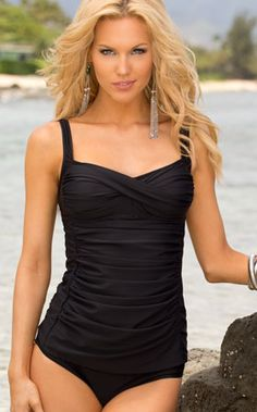 Sunsets 2013: Black Separates Swimwear Shirred Tankini 85T, High Waist Bottom 30B