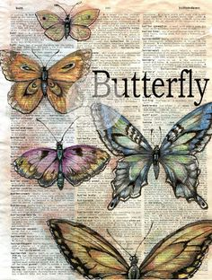 Butterfly Mixed Media Drawing on Distressed Dictionary Page - available for purchase at - flying shoes art studio # Art Doodle, Newspaper Art, Images Vintage, Vintage Art, Butterfly Drawing, Butterfly Project, Book Page Art, Largest Butterfly, Vintage Drawing