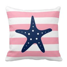 Shop White Blue & Pink Wide Stripes Pattern Starfish Throw Pillow created by heartlocked. Pink Pillows, Blue Throw Pillows, Throw Pillow Cases, Decorative Throw Pillows, Cushion Covers, Pillow Covers, Seaside Theme, Nautical Theme, Cricut