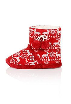 Festive Damen Fairisle-Boot-Hausschuhe mit Gummi Sohle, Fell und Pom Detail, Rot, Größen 3–8, Rot - rot - Größe: 41.5 - Hausschuhe für frauen (*Partner-Link) Partner, Ugg Boots, Uggs, Detail, Link, Shoes, Fashion, Slippers, Inside Shoes