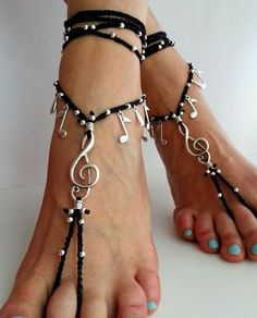 Barefoot sandals Boho wrapped ankle Foot Jewelry Hippie anklet G-clef Gypsy sandals Yoga jewelry Notes Belly dance  Beach wedding