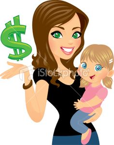 Money Wise Woman with Daughter Royalty Free Stock Vector Art Illustration